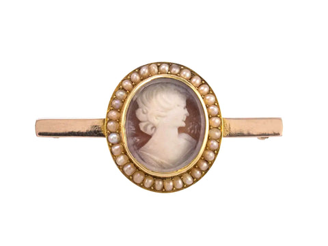 Antique Cameo Brooch With Pearls Circa 1900-Brooches & Pins-Hunters Fine Jewellery