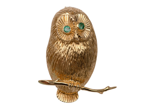 Solid 14K Gold Owl Brooch With Emeralds 7.8 Grams-Brooches & Pins-Hunters Fine Jewellery