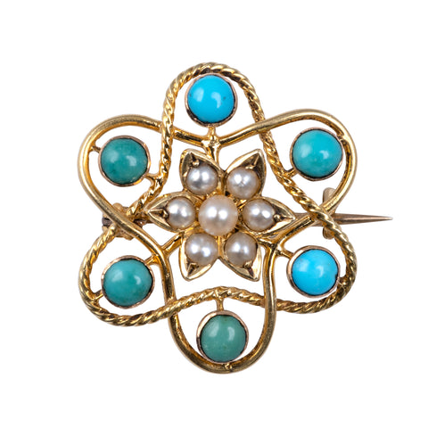 Antique 15ct Gold Turquoise Pearl Flower Brooch Pin-Brooches & Pins-Hunters Fine Jewellery