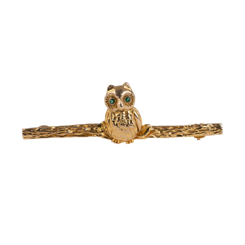 Emerald Eyes Gold Owl Bar Brooch Pin Hallmarked 9Ct-Brooches & Pins-Hunters Fine Jewellery