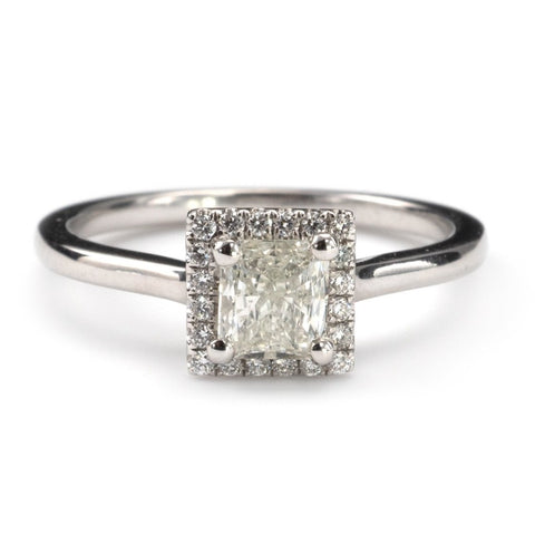 Radiant Cut Diamond Halo Ring 18K White Gold Hallmarked-Rings-Hunters Fine Jewellery
