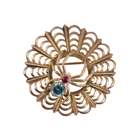 Vintage Zircon & Ruby Spider Web Brooch 9 Carat Gold-Brooches & Pins-Hunters Fine Jewellery