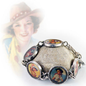 50s style pinup cowgirls bracelet