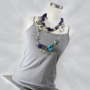 Asymetrical Sterling Silver & Turquoise Necklace