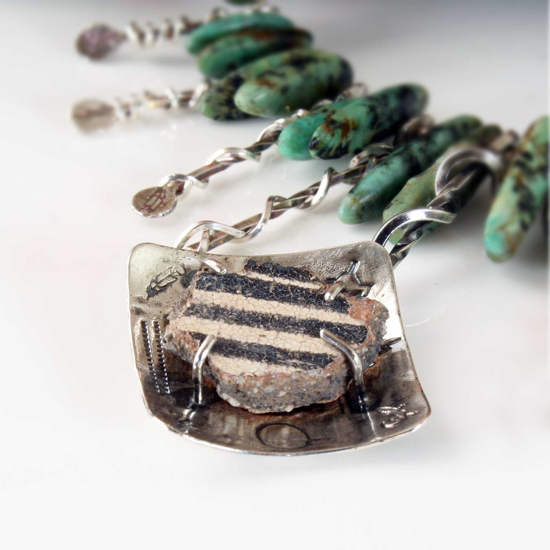 Turquoise and Anasazi Pot Shard Necklace