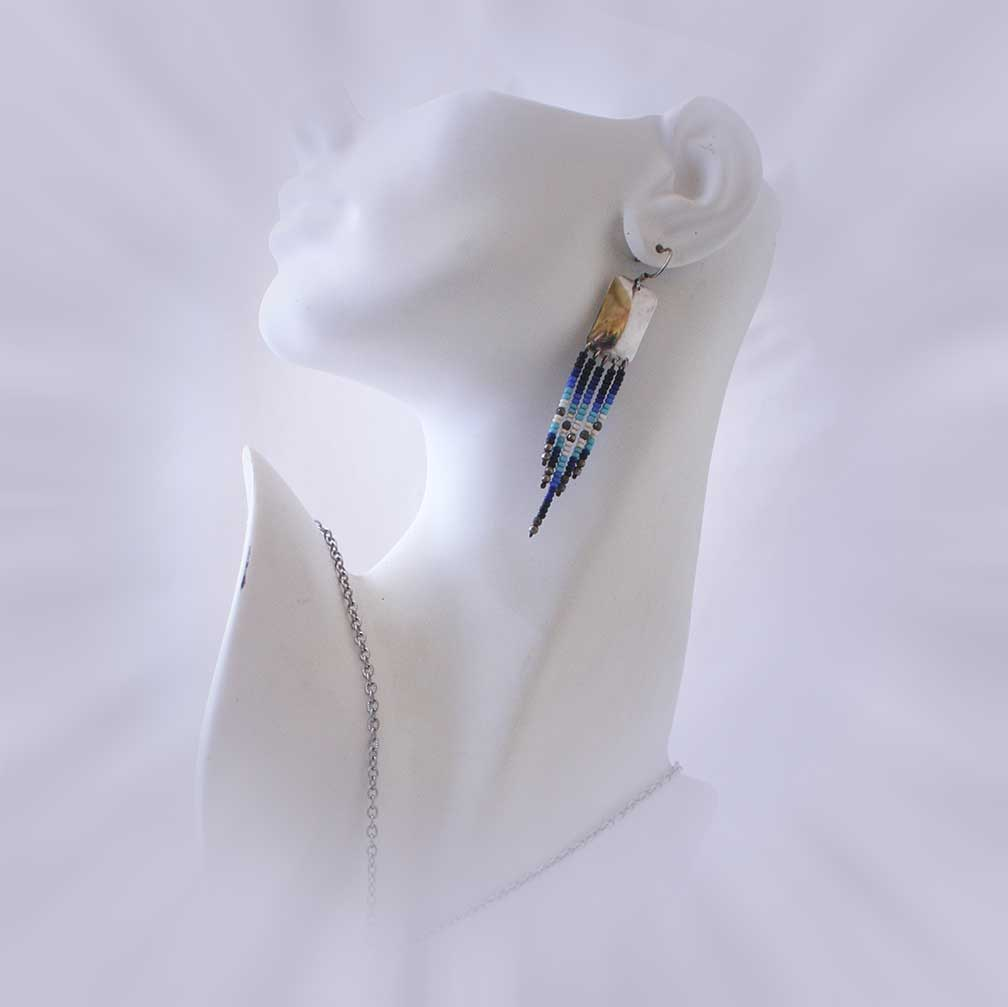 Sterling Silver Drop Earrings with Hues of Blue Seed Beads