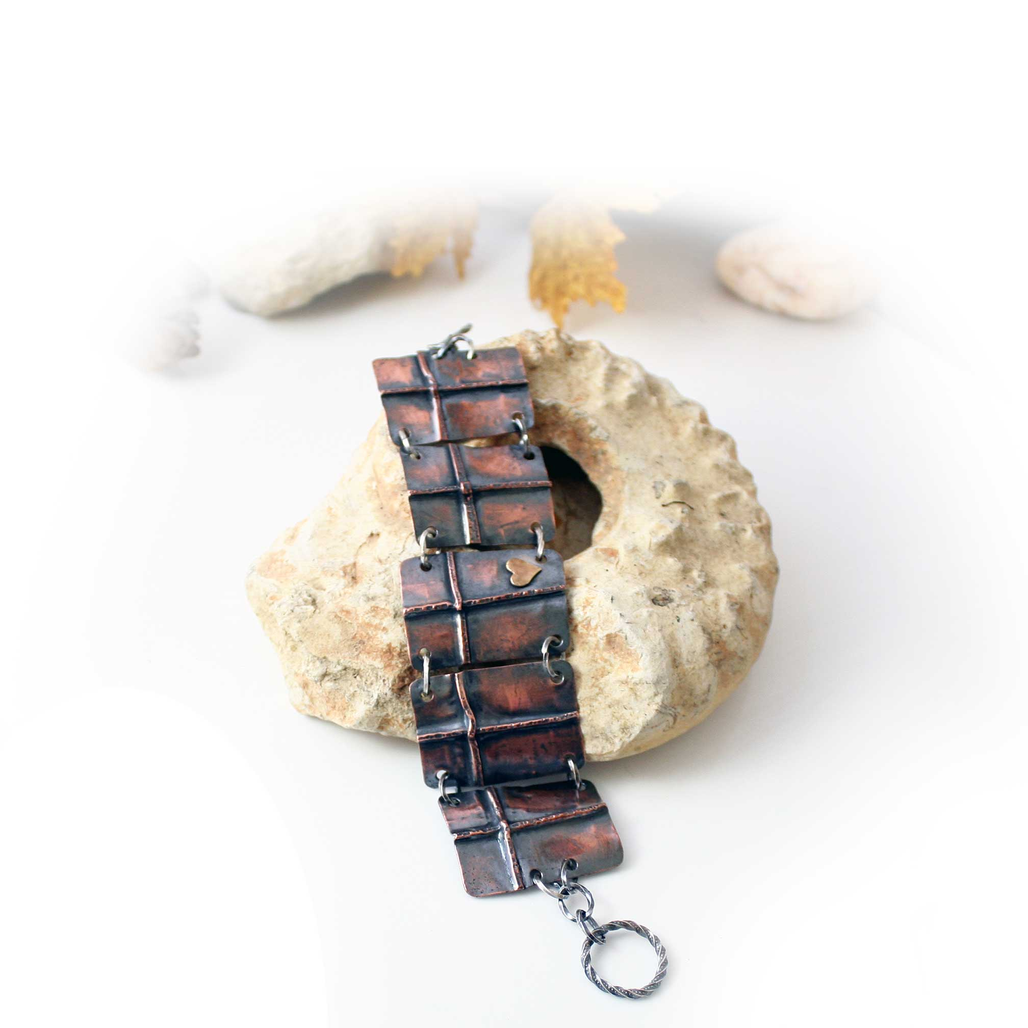 Folded Cross Bracelet in Solid Copper