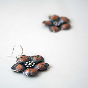 Copper Flower Dangle Earrings