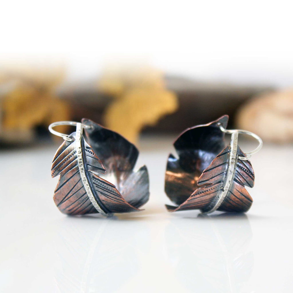 Copper and Sterling Feather Hoop Earrings