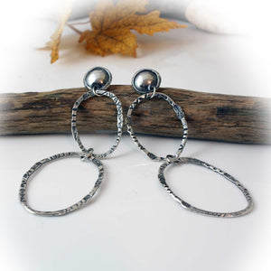 Double Hoop Earrings, Sterling Silver, hand stamped!