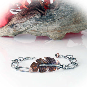 Feather Bracelet, copper and sterling silver