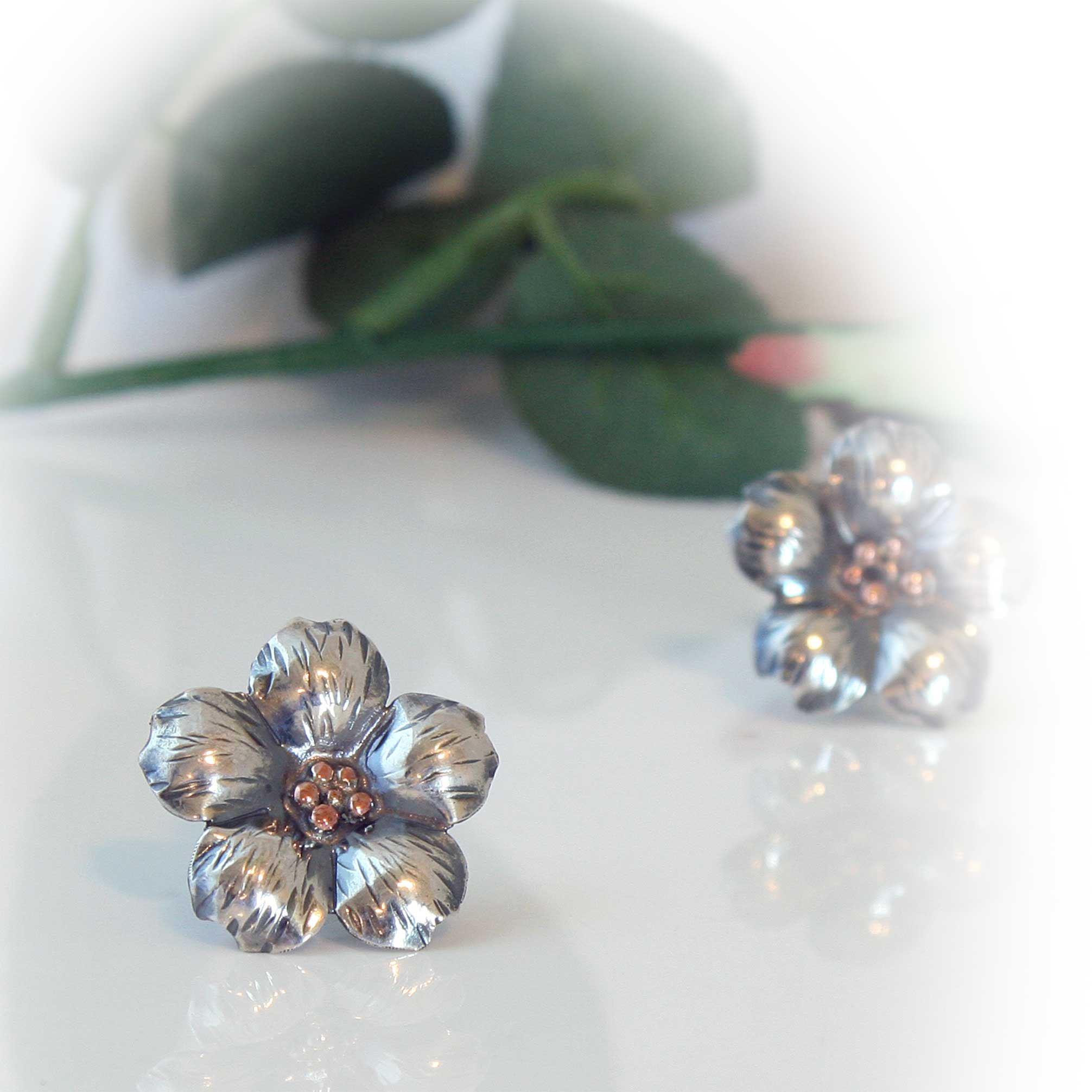 Sterling Silver Flower Stud Earrings with Copper