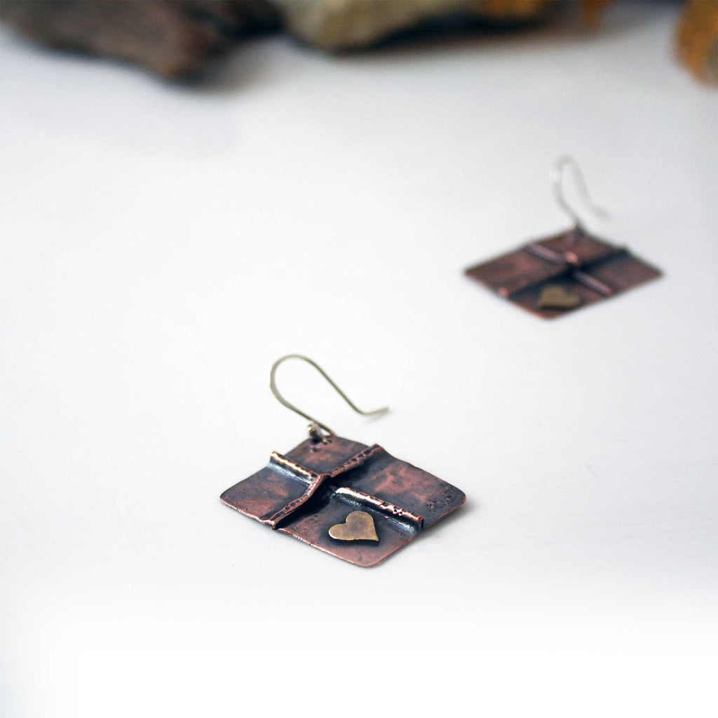 Cross Earrings, Hammered Cross with Brass Heart Dangle Earrings