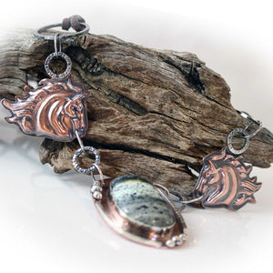 Nevada Turquoise and Copper Horse Necklace
