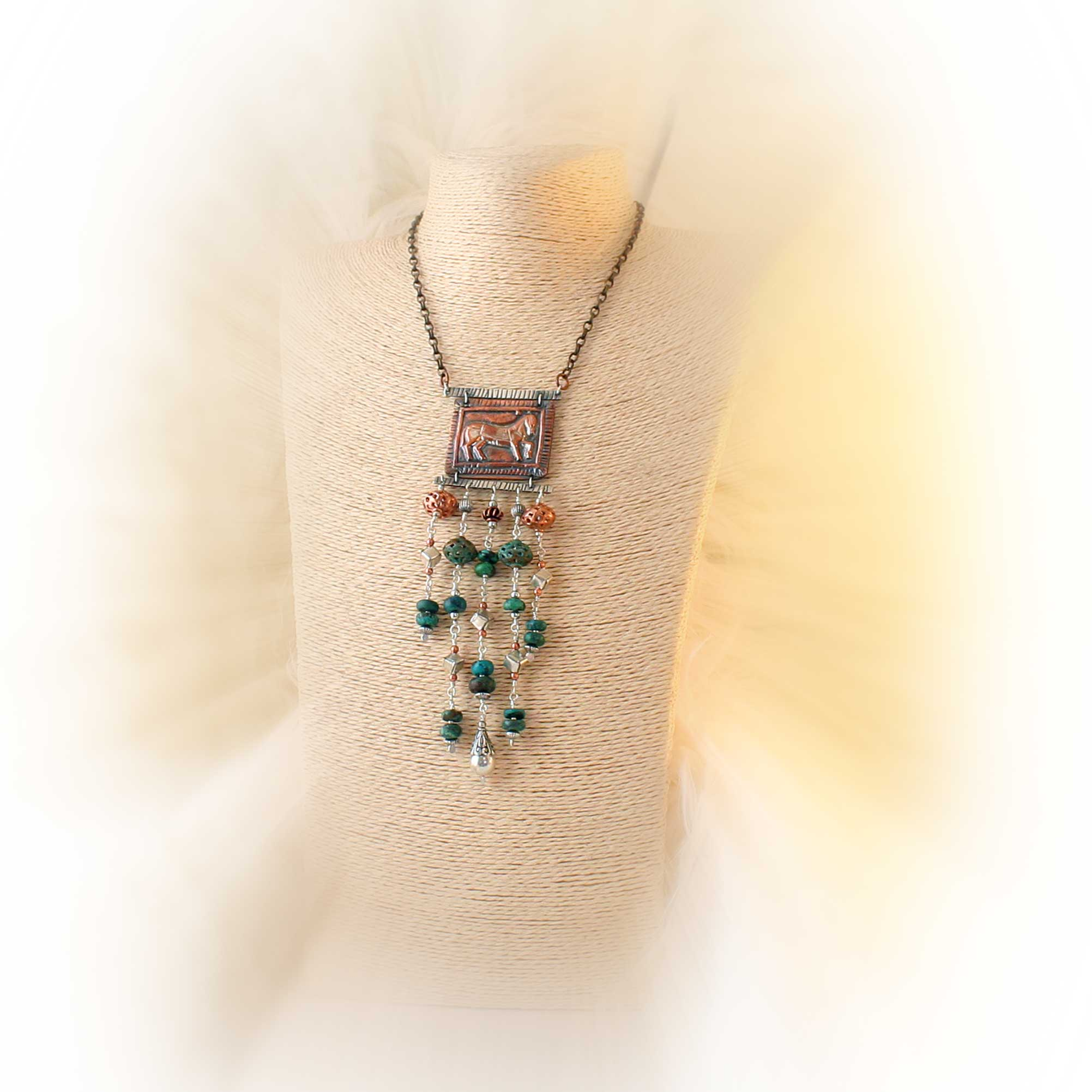 Turquoise, Sterling and Copper Horse Necklace
