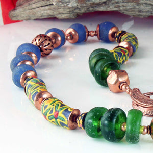 African Krobo Bead Necklace, Long, Multi Colored