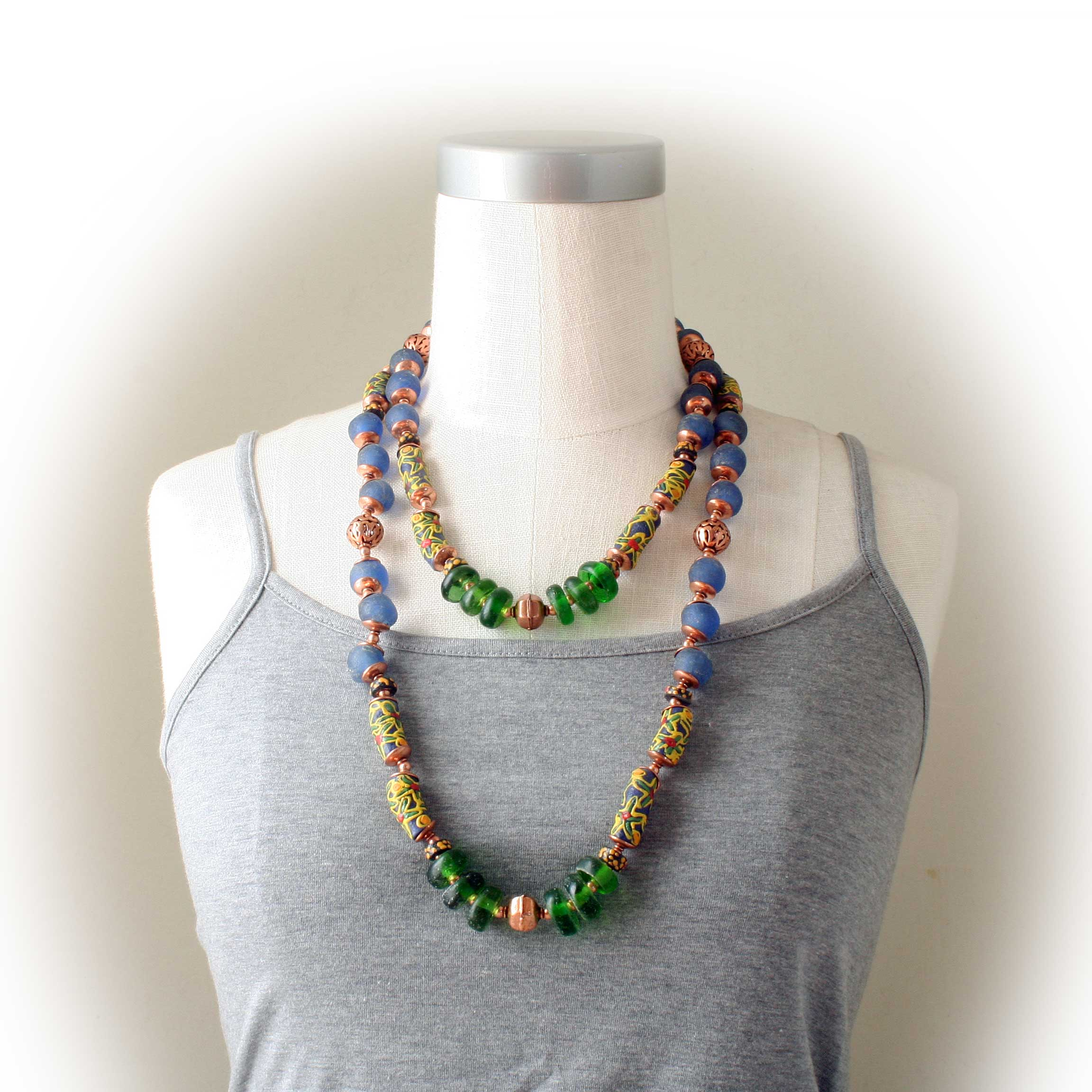 African Krobo Bead Necklace (long)