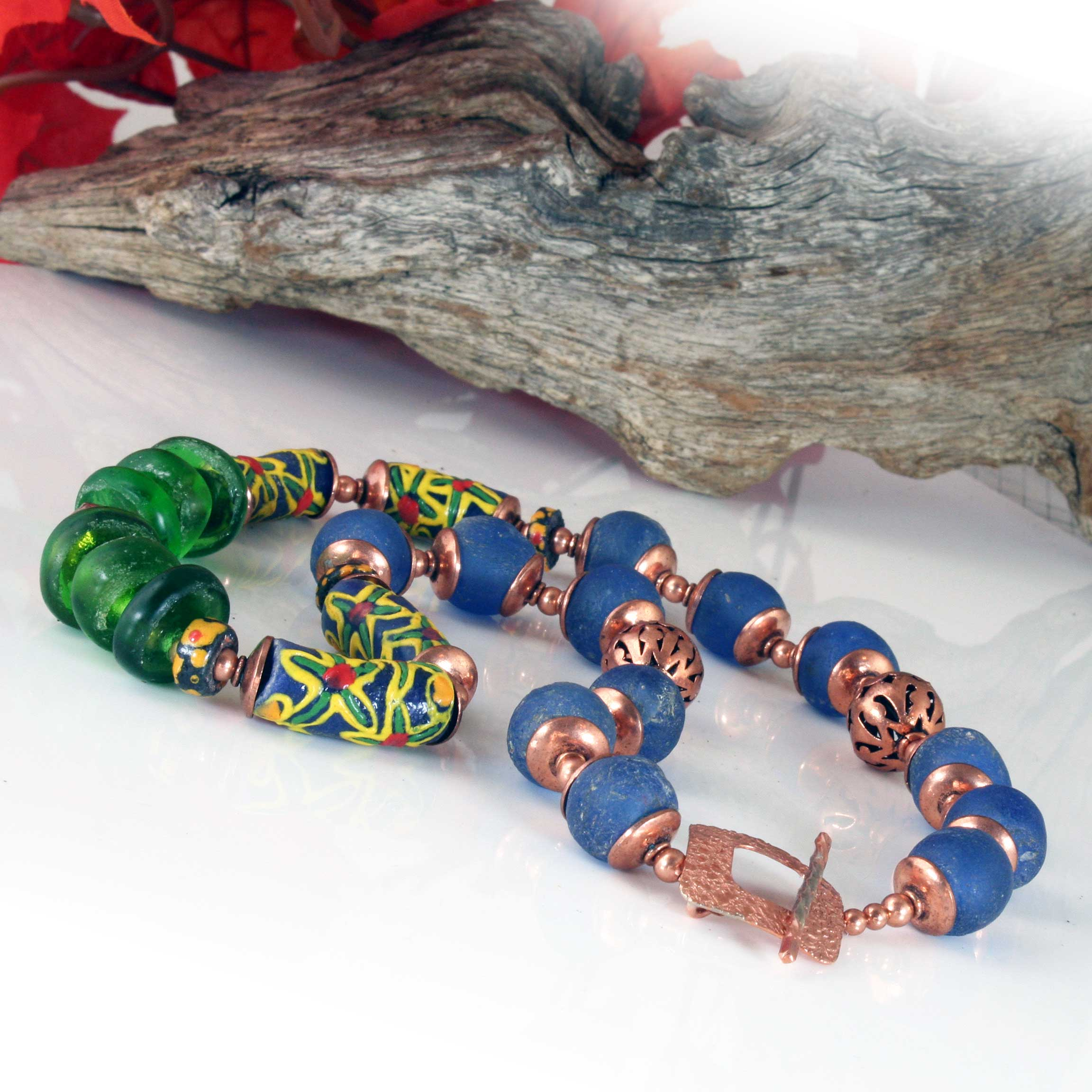 Krobo Bead Necklace, Recycled African Glass