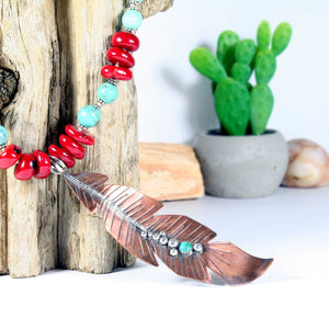 Long Copper & Sterling Silver Feather with Turquoise & Coral