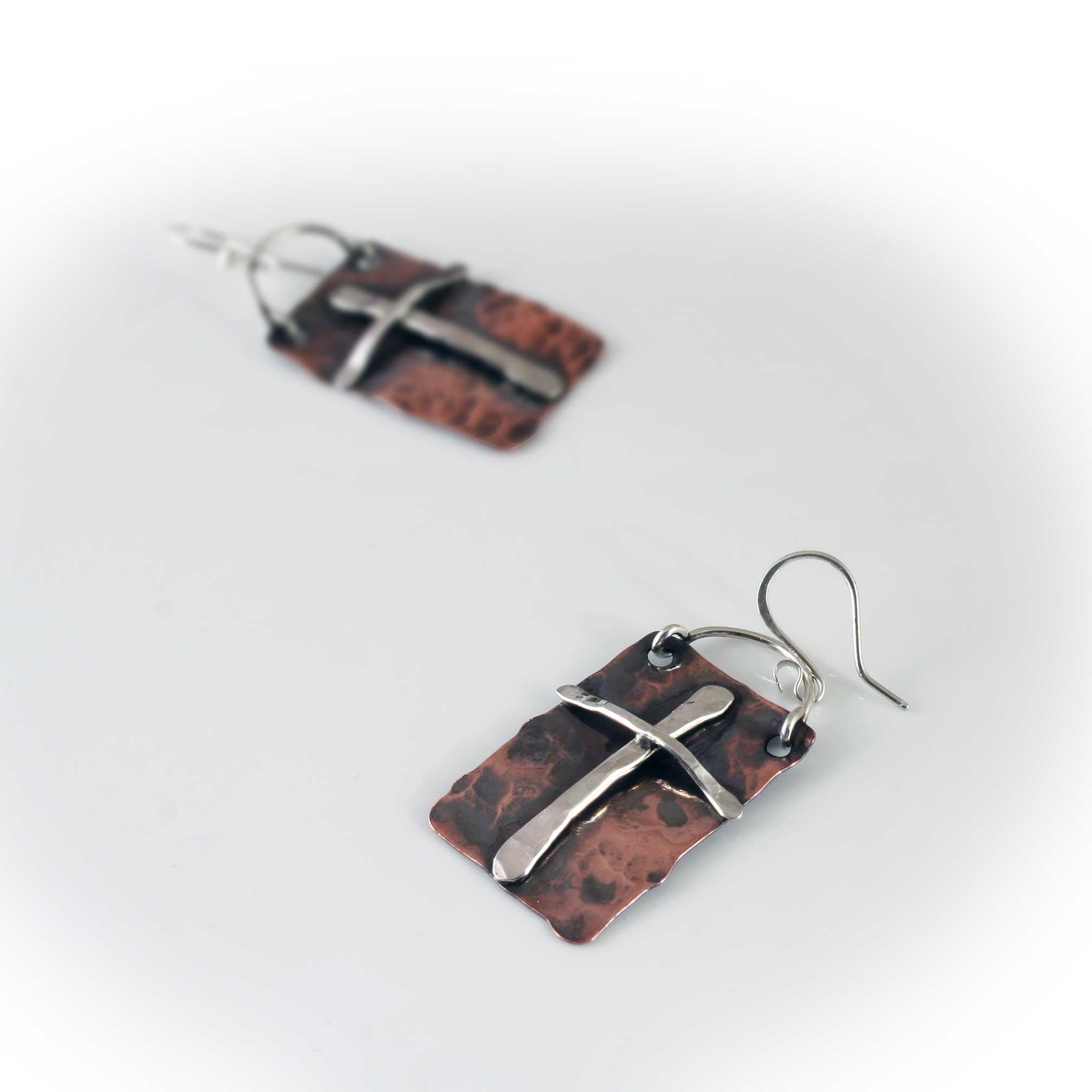 Mission Cross Earrings in Sterling Silver and Copper