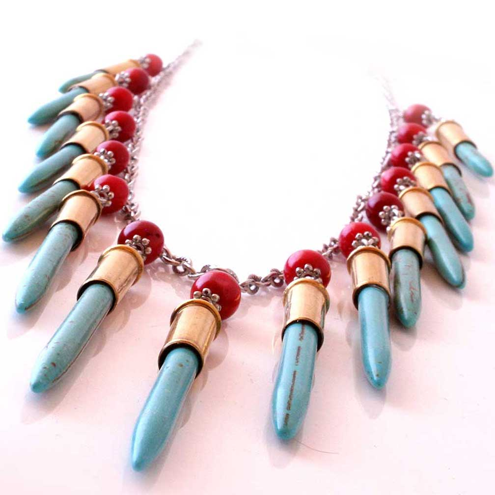 Bullet Necklace with .22 shells and faux turquoise and coral