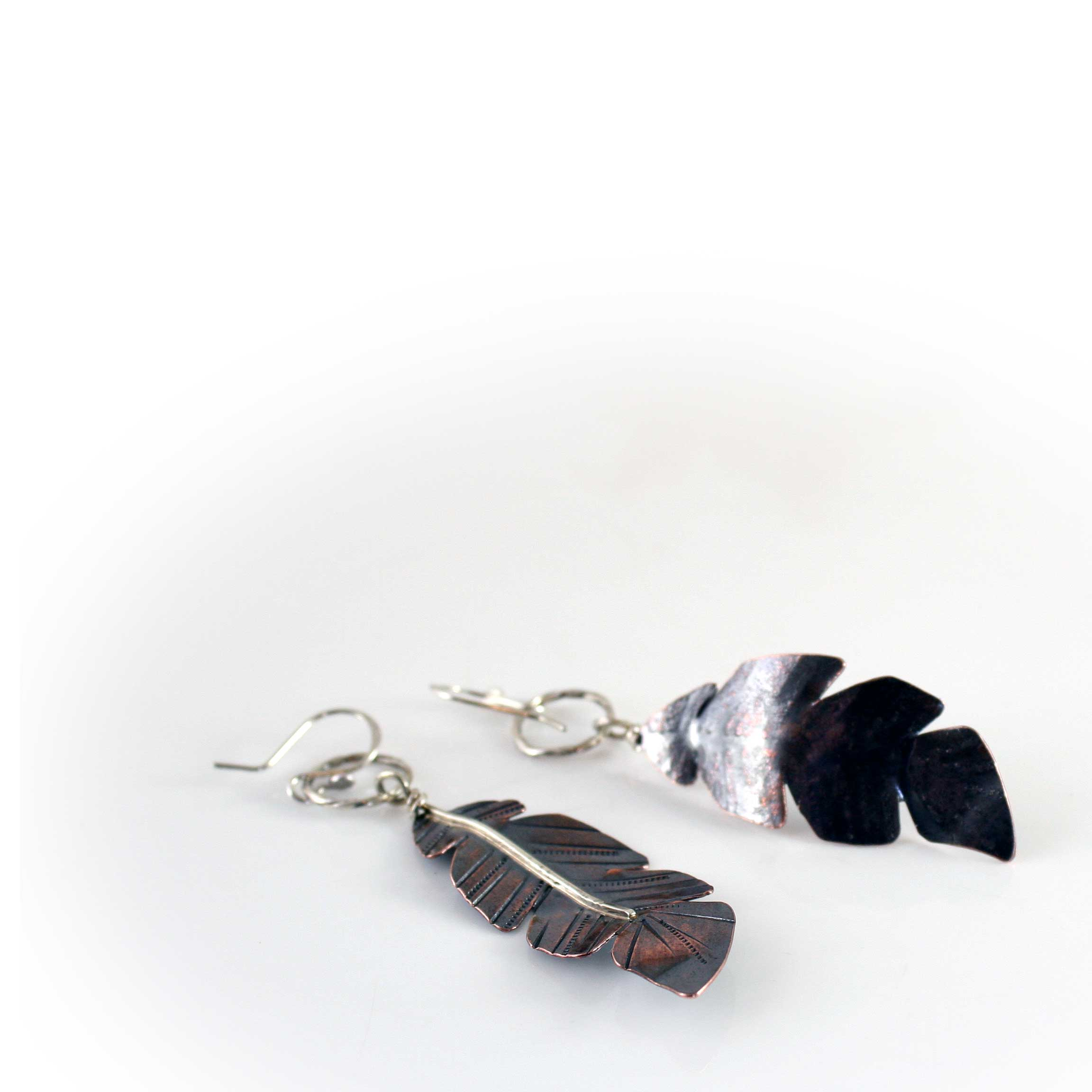 Feather Earrings in Sterling and Copper