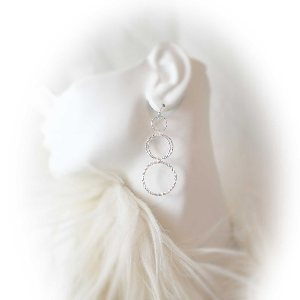 Sterling silver triple hoop dangle earrings