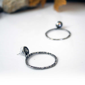 Stamped Sterling Silver Hoop Earring with Studs