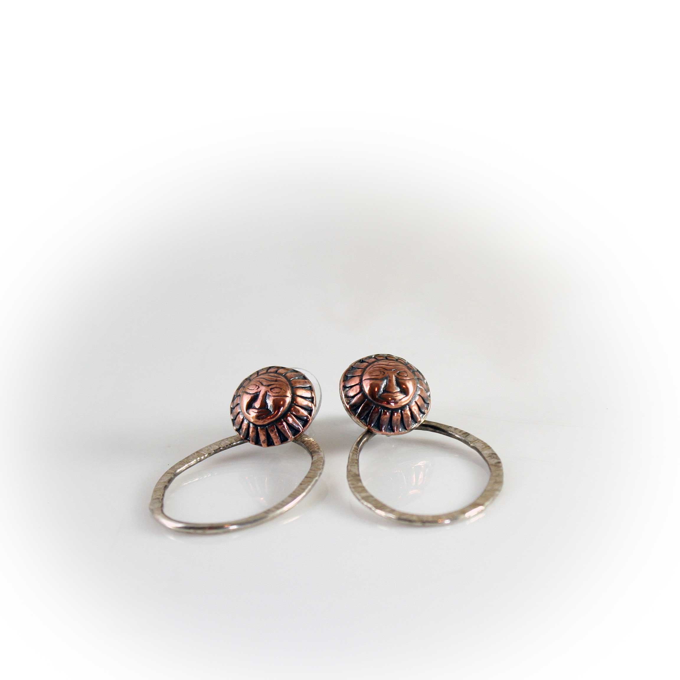 Copper Sun Stud Earrings with Hammered Hoops