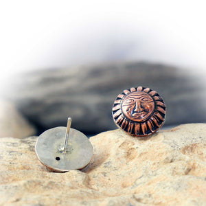 Copper Sun Stud Earrings