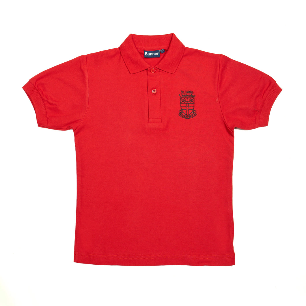 Crested red polo shirt