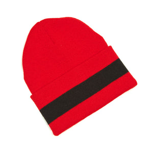 Red and black winter hat