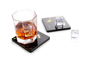 Ants walking on Marquina - set of coasters