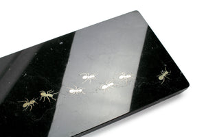 Ants walking on Marquina - big centerpiece/serving plate in marble