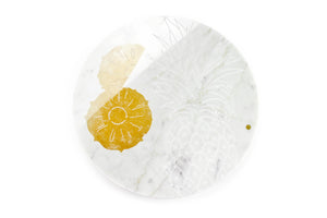 Pineapple - circular centerpiece/serving plate in white Carrara marble