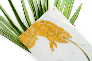 Sir Camaleonte - centerpiece/serving plate in marble and yellow Siena
