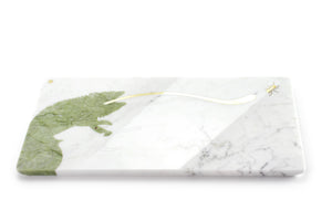Sir Camaleonte - centerpiece / serving plate in marble and green Ming