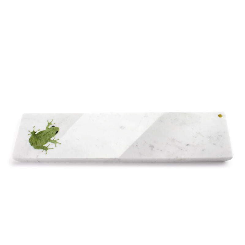 Frogs in Summer - medium size centerpiece/serving plate in marble