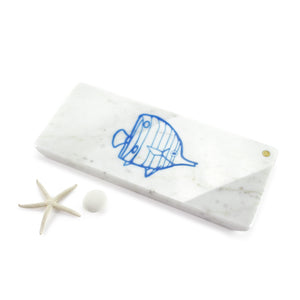 Tropical fish - small centerpiece/serving plate in marble