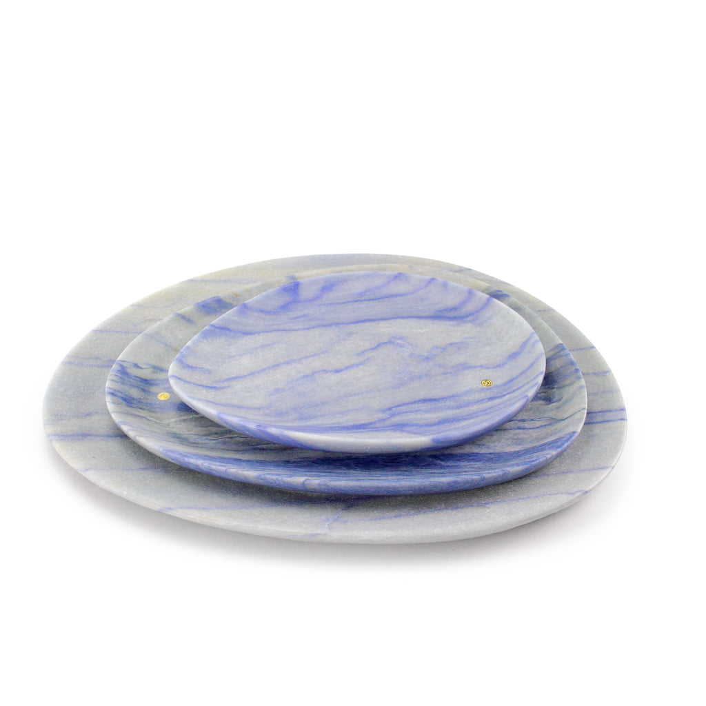 Set of presentation plates in semi-precious quartzite Azul Macaubas