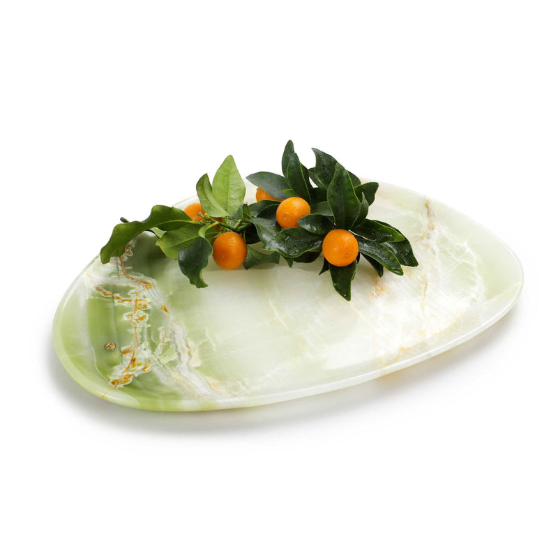 Presentation plate in green onyx