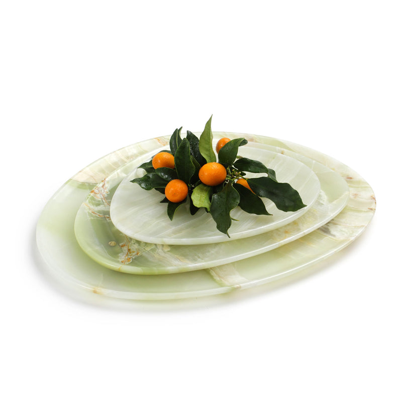 Set of presentation plates in green onyx
