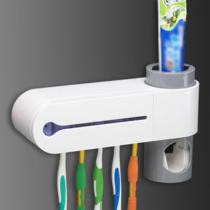 Wall Mounted Automatic Toothpaste Dispenser & Toothbrush Holder