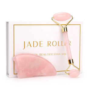Jade Roller Gua Sha Set for Beautiful Skin Detox -Rose Quartz Roller