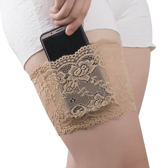 Flower Lace Anti-Chafing Thigh Bands w/ Phone holder