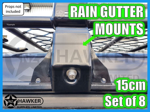 ROOF RACK MOUNTS - UNIVERSAL RAIN GUTTER 15cm Set of 8  #01