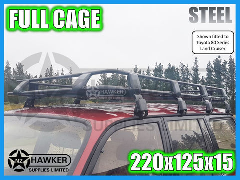 ROOF RACK CAGE TRAY 220cm x 125cm STEEL incl 15cm UNIVERSAL GUTTER MOUNTS! #03