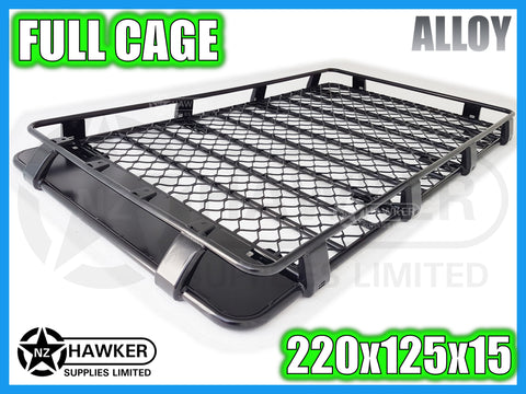 ROOF RACK CAGE TRAY 220cm x 125cm ALLOY incl 15cm UNIVERSAL GUTTER MOUNTS! #06