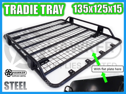 ROOF RACK TRADIE TRAY 135cm x 125cm STEEL incl 15cm UNIVERSAL GUTTER MOUNTS! #09