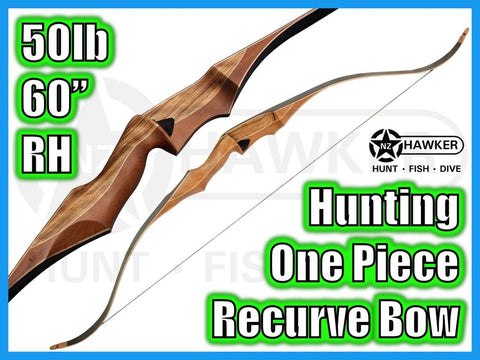 "HUNTING ONE-PIECE RECURVE BOW 60"" 50lb RH - DOC LEGAL #09"
